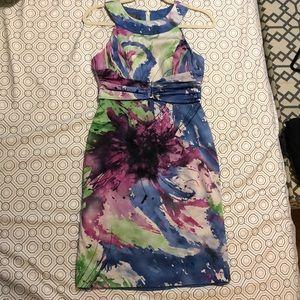 Mid-length paint-splash dress